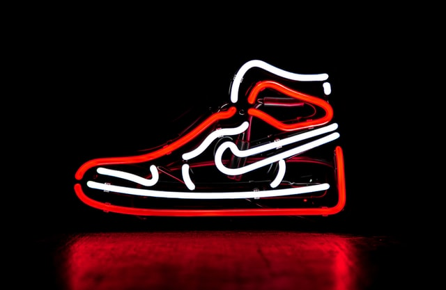 Illuminated Nike shoes doing brand marketing