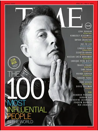 elon musk on times cover to show tesla marketing strategy